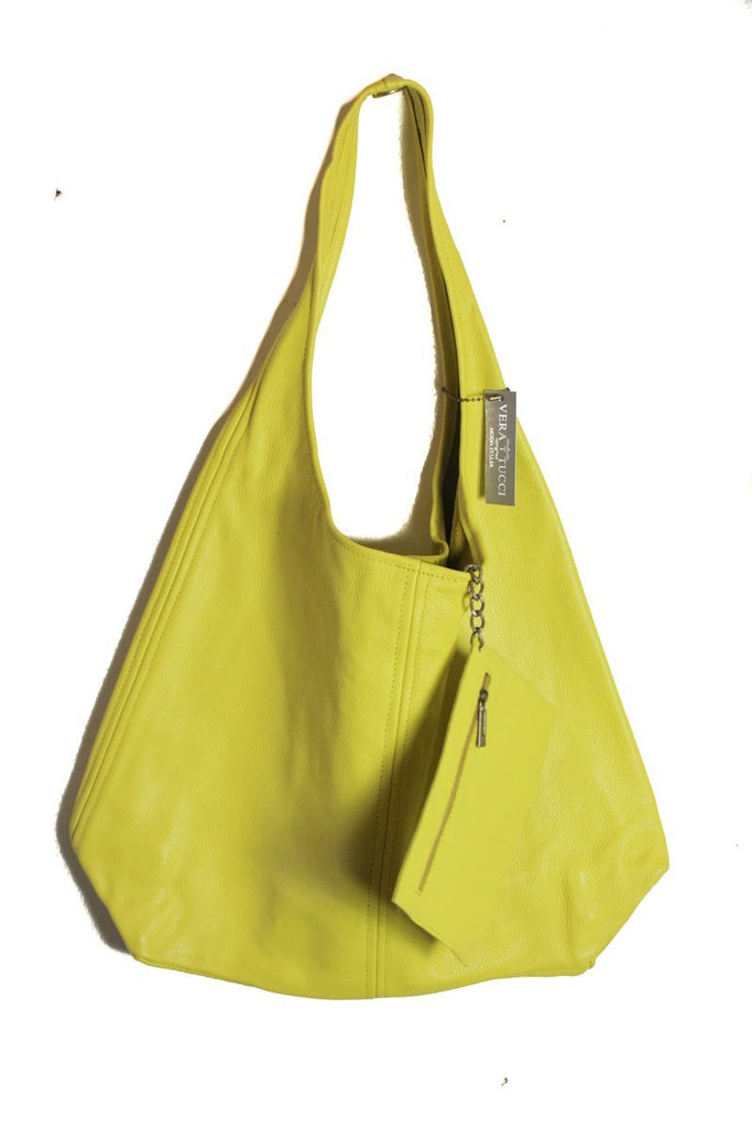 Leather Bag Juliet Milled Leather Shoulder Bag - Vera Tucci OriginalsBags Yellow