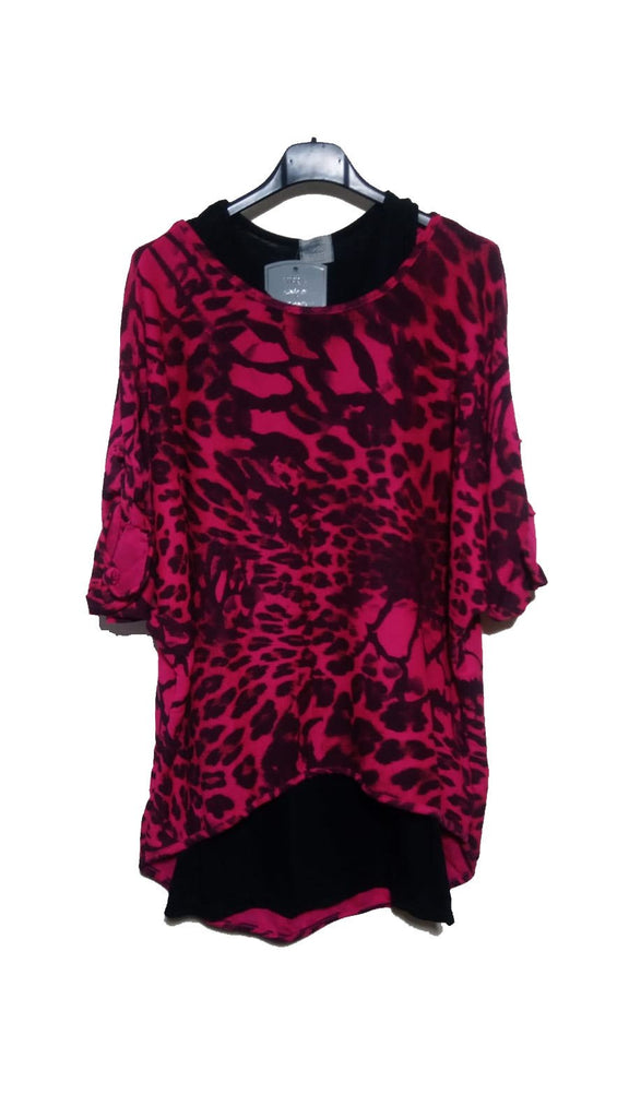 Top Leopard Double Layer Top One Size - Vera Tucci OriginalsLondon Clothing Fuchsia
