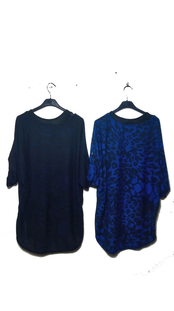Top Leopard Double Layer Top One Size - Vera Tucci OriginalsLondon Clothing Navy