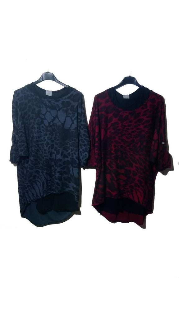 Top Leopard Double Layer Top One Size - Vera Tucci OriginalsLondon Clothing Burgundy