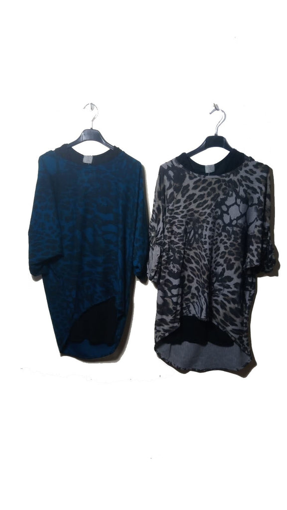 Top Leopard Double Layer Top One Size - Vera Tucci OriginalsLondon Clothing Teal