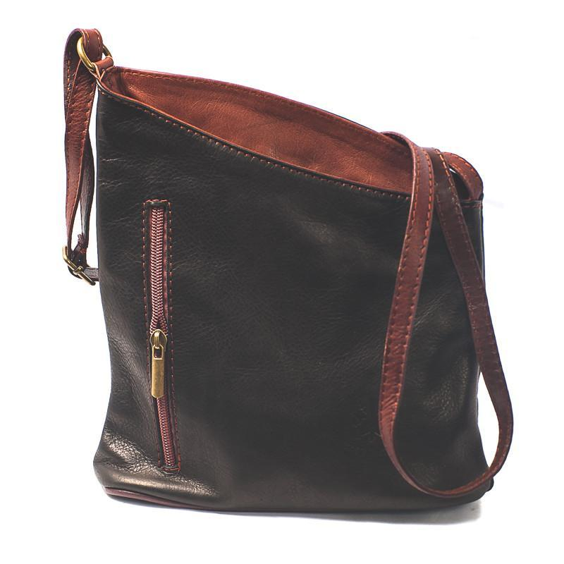 Leather Bag Lindsey Small - Vera Tucci OriginalsBags Black + Red