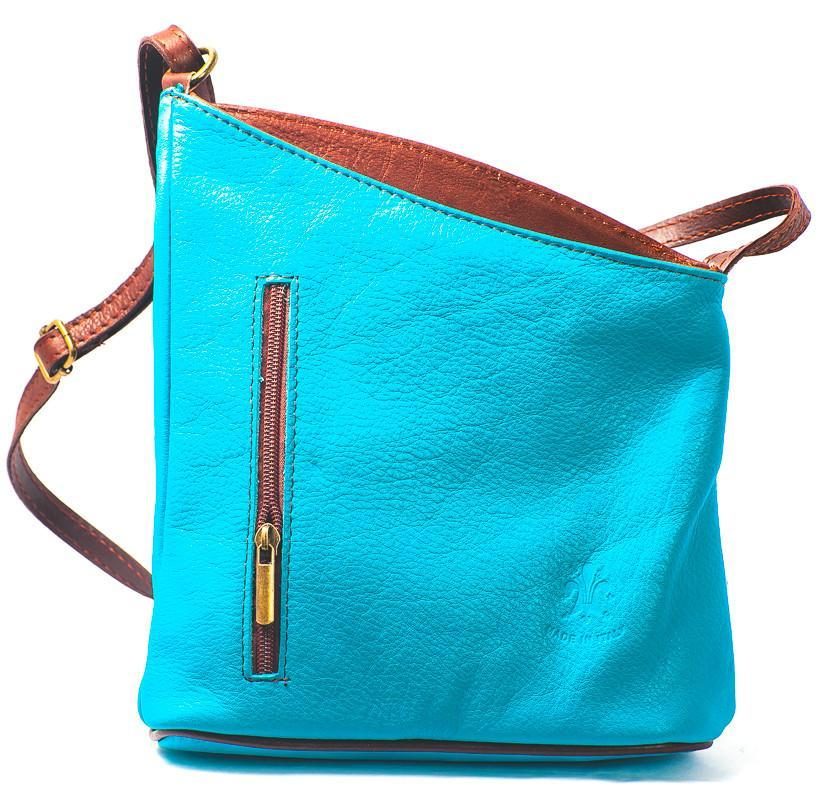 Leather Bag Lindsey Small - Vera Tucci OriginalsBags TEAL / BROWN