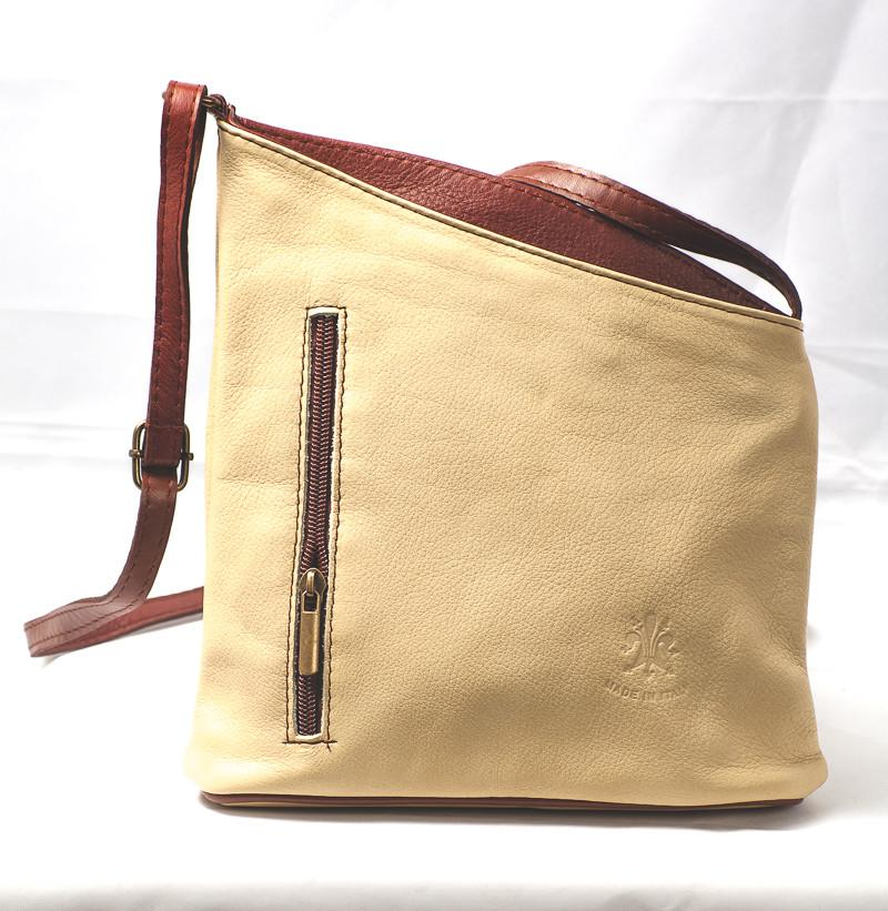 Leather Bag Lindsey Small - Vera Tucci OriginalsBags NUDE / BROWN