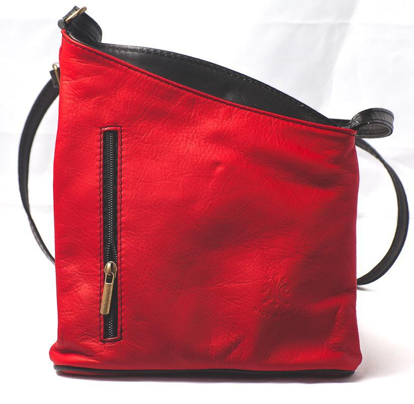 Leather Bag Lindsey Small - Vera Tucci OriginalsBags Red + Navy