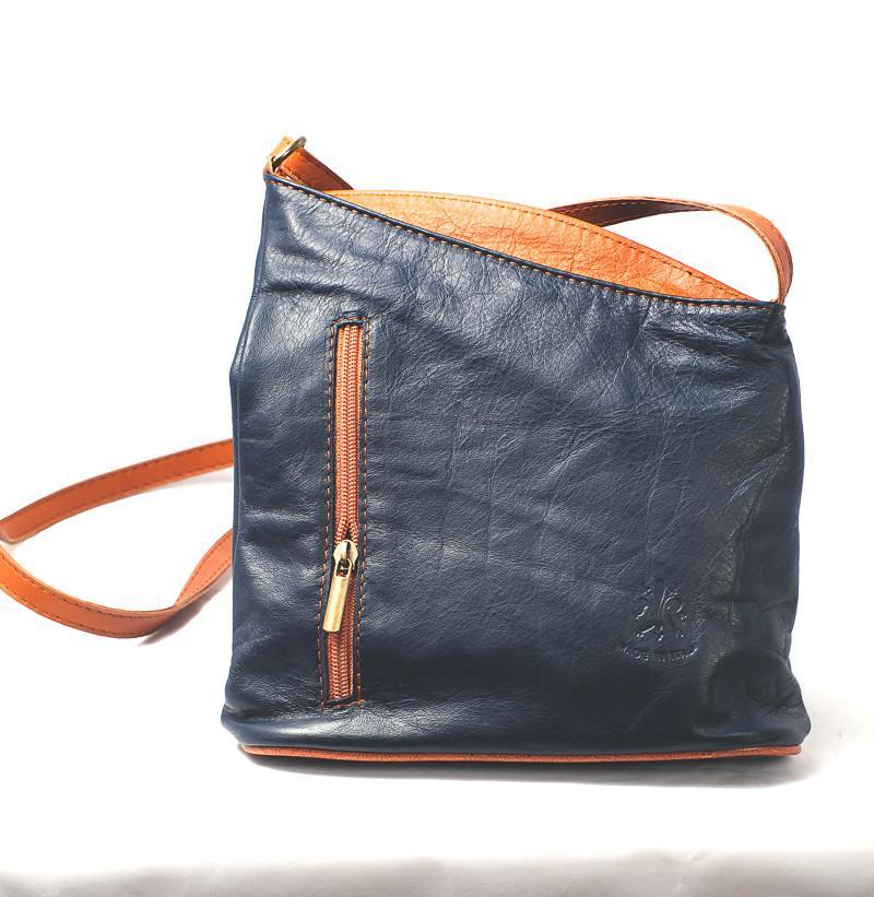 Leather Bag Lindsey Small - Vera Tucci OriginalsBags Navy + Tan