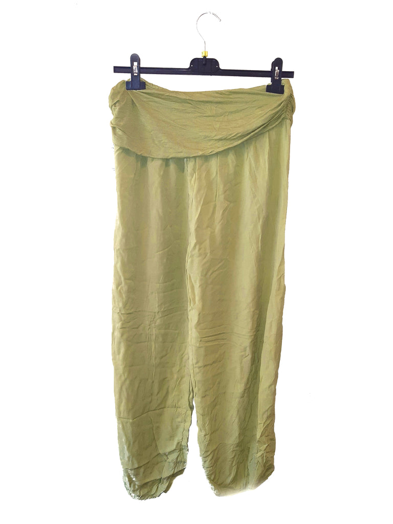 Trousers CAIRO Harlem Pants Plain Viscose Trousers - Vera Tucci OriginalsLondon Clothing OLIVE ?id=16929769357449
