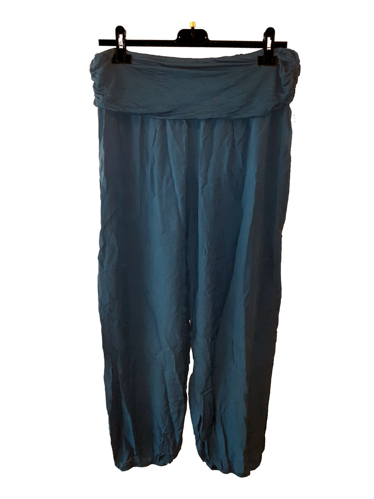 Trousers CAIRO Harlem Pants Plain Viscose Trousers - Vera Tucci OriginalsLondon Clothing TEAL ?id=16929624424585