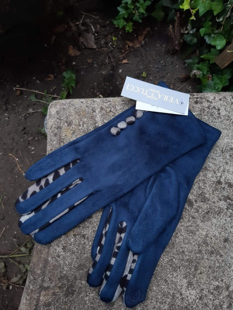 Gloves LEONIE G27 Leopard Finger and Buttons Suede Feel Women's glove - Vera Tucci OriginalsAccessories SMALL / NAVY #73