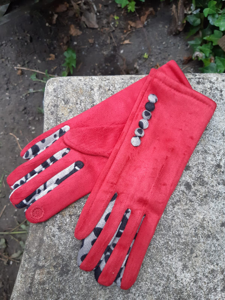 Gloves LEONIE G27 Leopard Finger and Buttons Suede Feel Women's glove - Vera Tucci OriginalsAccessories SMALL / RED