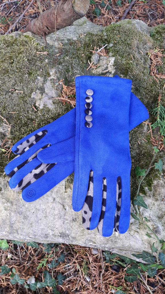 Gloves LEONIE G27 Leopard Finger and Buttons Suede Feel Women's glove - Vera Tucci OriginalsAccessories SMALL / ROYAL