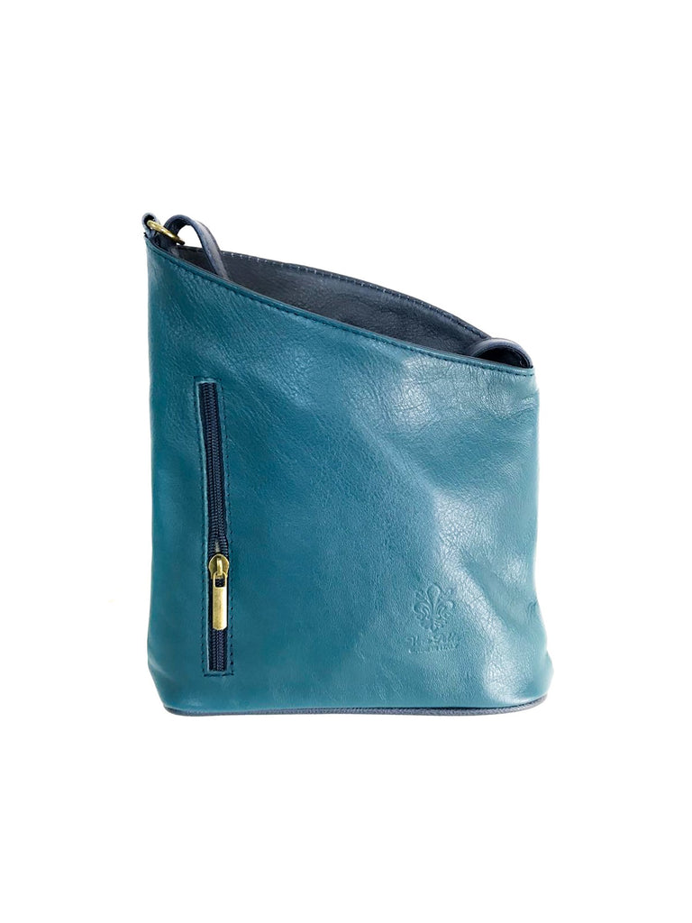 Leather Bag Lindsey Small - Vera Tucci OriginalsBags Teal/Navy !NEW!
