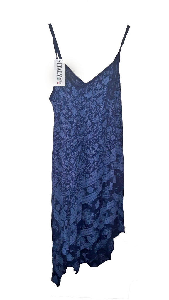 Dress PISTOIA Elephant Pattern Viscose Dress - Vera Tucci OriginalsLondon Clothing NAVY