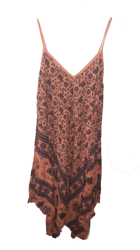 Dress PISTOIA Elephant Pattern Viscose Dress - Vera Tucci OriginalsLondon Clothing ORANGE