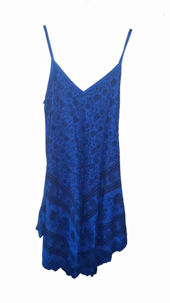 Dress PISTOIA Elephant Pattern Viscose Dress - Vera Tucci OriginalsLondon Clothing ROYAL BLUE