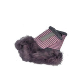 Gloves Striped Fur Cuff Mitts - G25 - Vera Tucci OriginalsAccessories GREY/PINK