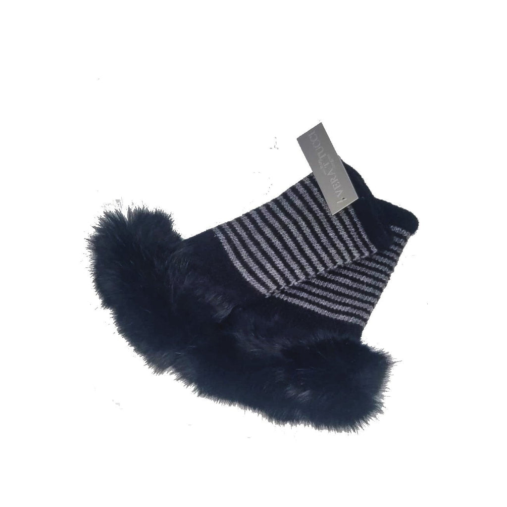 Gloves Striped Fur Cuff Mitts - G25 - Vera Tucci OriginalsAccessories NAVY/GREY