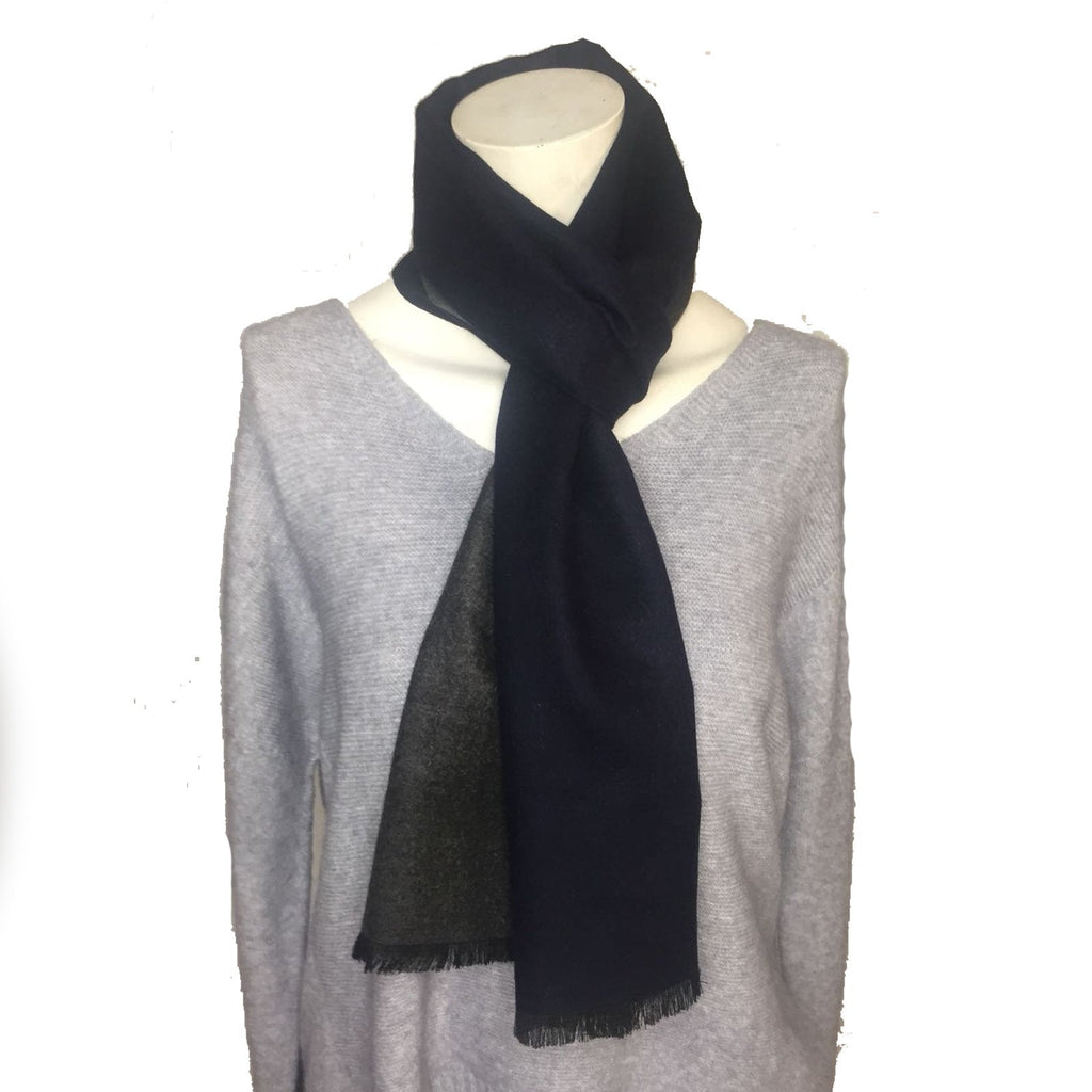Scarves Men's Boxed Scarf, Double Sided - Vera Tucci OriginalsAccessories PLAIN - NAVY/GREY