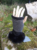 Gloves Striped Fur Cuff Mitts - G25 - Vera Tucci OriginalsAccessories