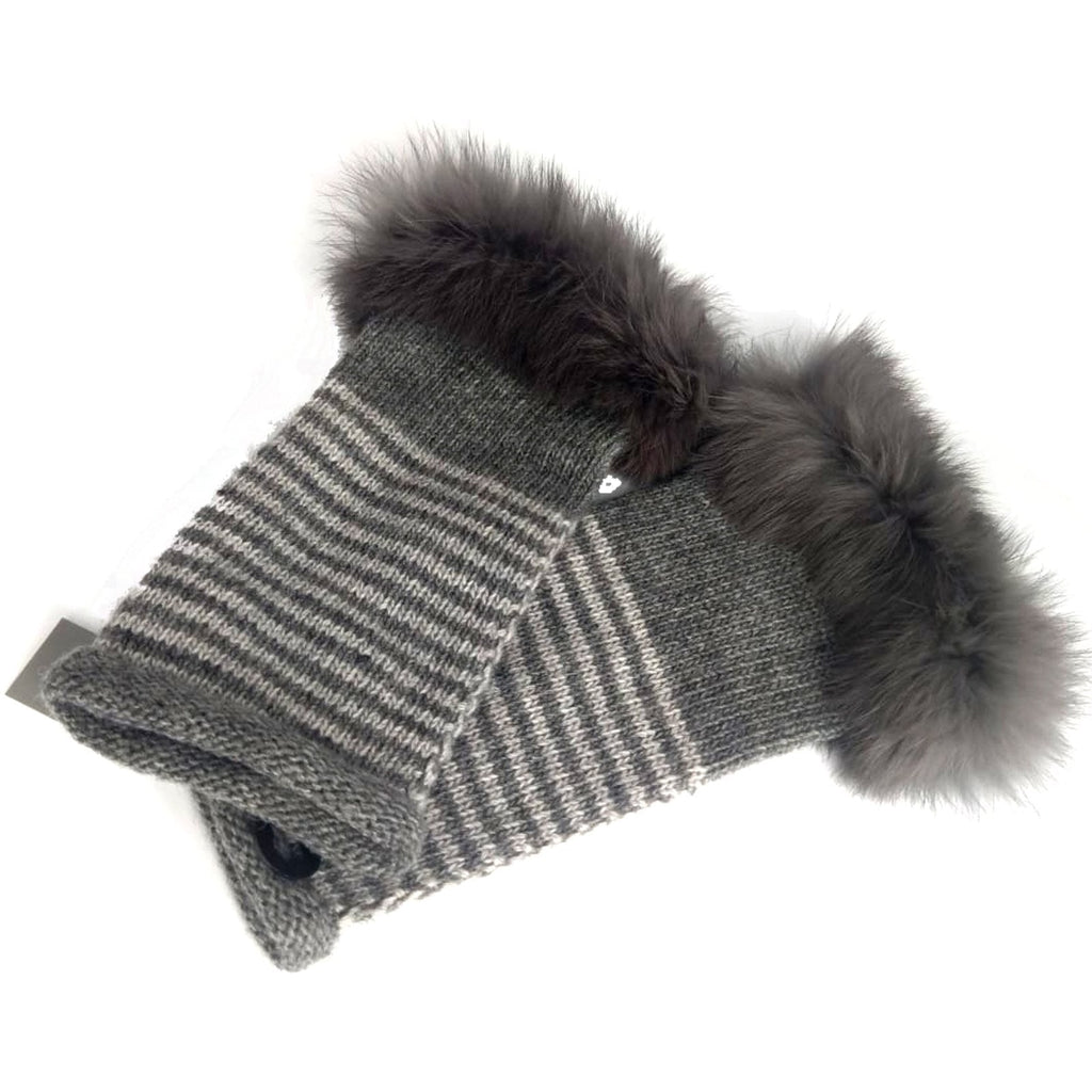 Gloves Striped Fur Cuff Mitts - G25 - Vera Tucci OriginalsAccessories DARK GREY/LIGHT GREY