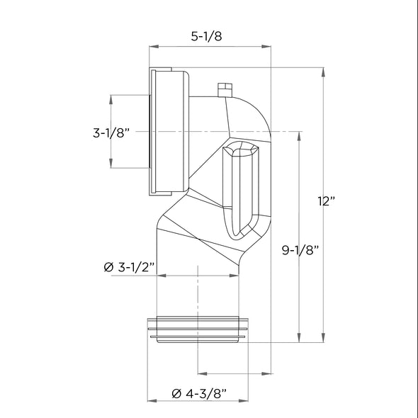 "U900600 - Space Saving 90 Degree Bend Rigid WC Waste Connector for 4"" Outlet"