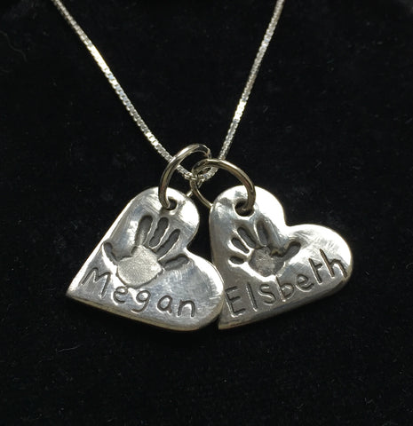 Handprint Double Medium Heart Pendant