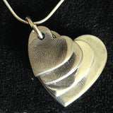 Fingerprint Descending Four Heart Pendant