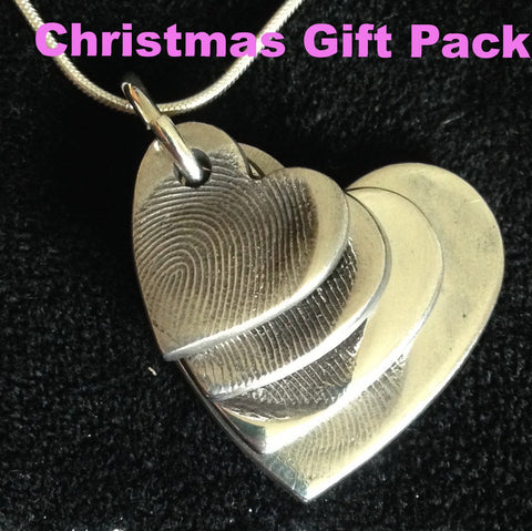 Christmas Gift Pack Fingerprint Descending Four Heart Pendant