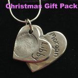 Christmas Gift Pack Fingerprint Double Descending Heart Necklace