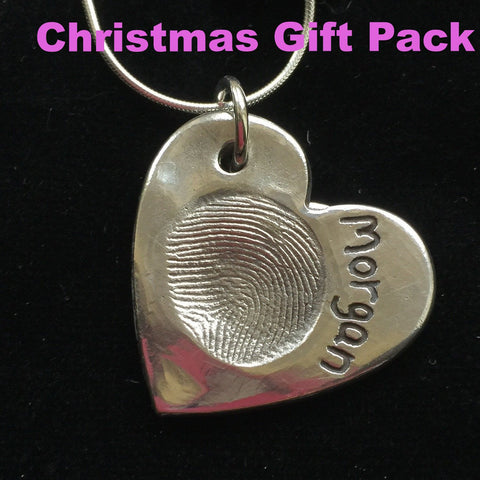 Christmas Gift Pack Fingerprint Large Heart Necklace