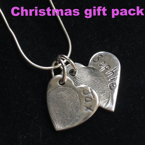 Christmas Gift Pack Fingerprint Small & Medium Heart Necklace