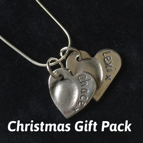 Christmas Gift Pack for Fingerprint Small & Medium Heart Necklace