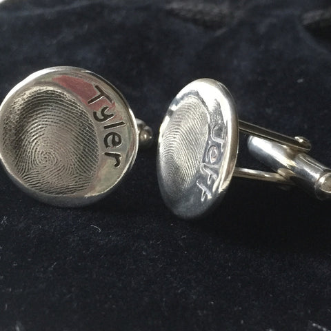 Fingerprint Round Cufflinks