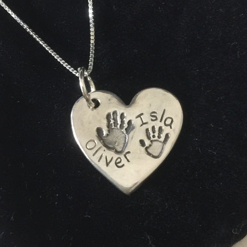 Large heart double handprint necklace