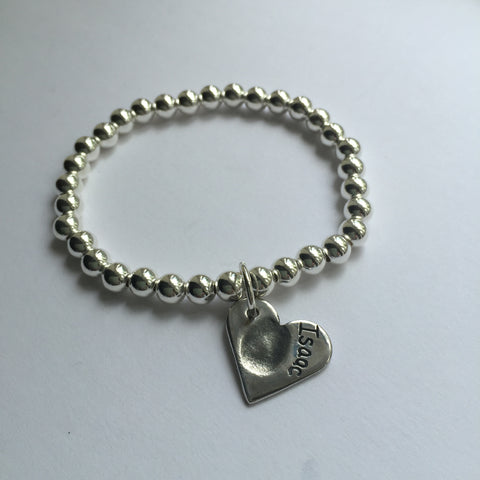 Silver Ball Bracelet including one fingerprint heart charm