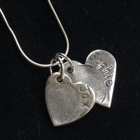 Fingerprint Small & Medium Heart Necklace