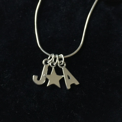 Silver Letter and Star pendant