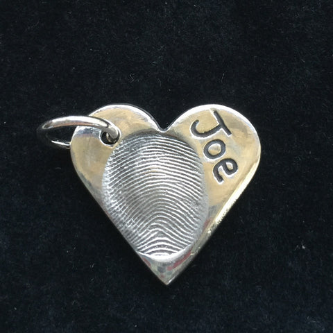 Fingerprint Medium Heart Charm