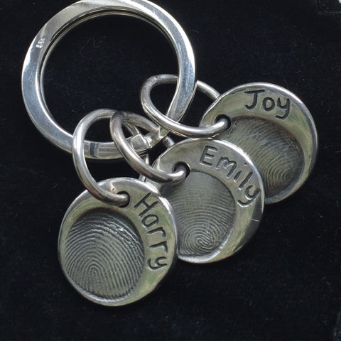 Fingerprint Three Charm Keyring