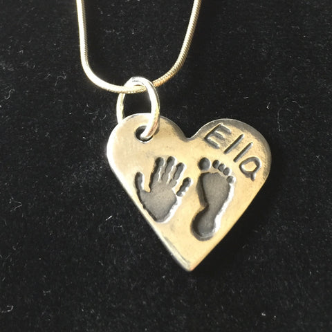 Hand and Foot Medium Heart Pendant