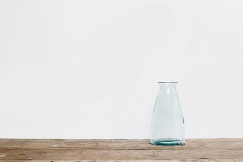 Tall Blue Tinted Glass Vase