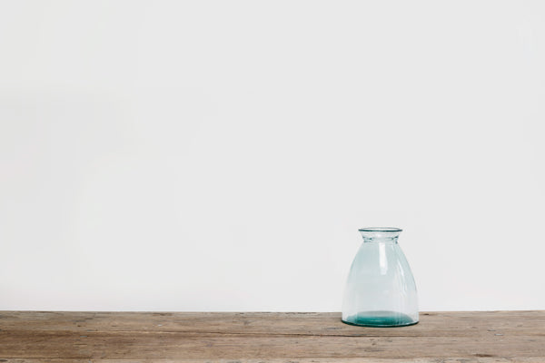 Short Blue Tinted Glass Vase
