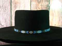Native American Beaded Patina Diamond Feather Hat Band 1