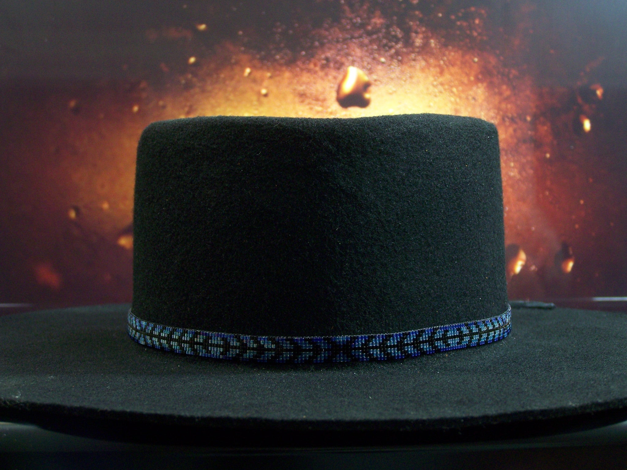 Native American Beaded Blue Herringbone Hat Band 1