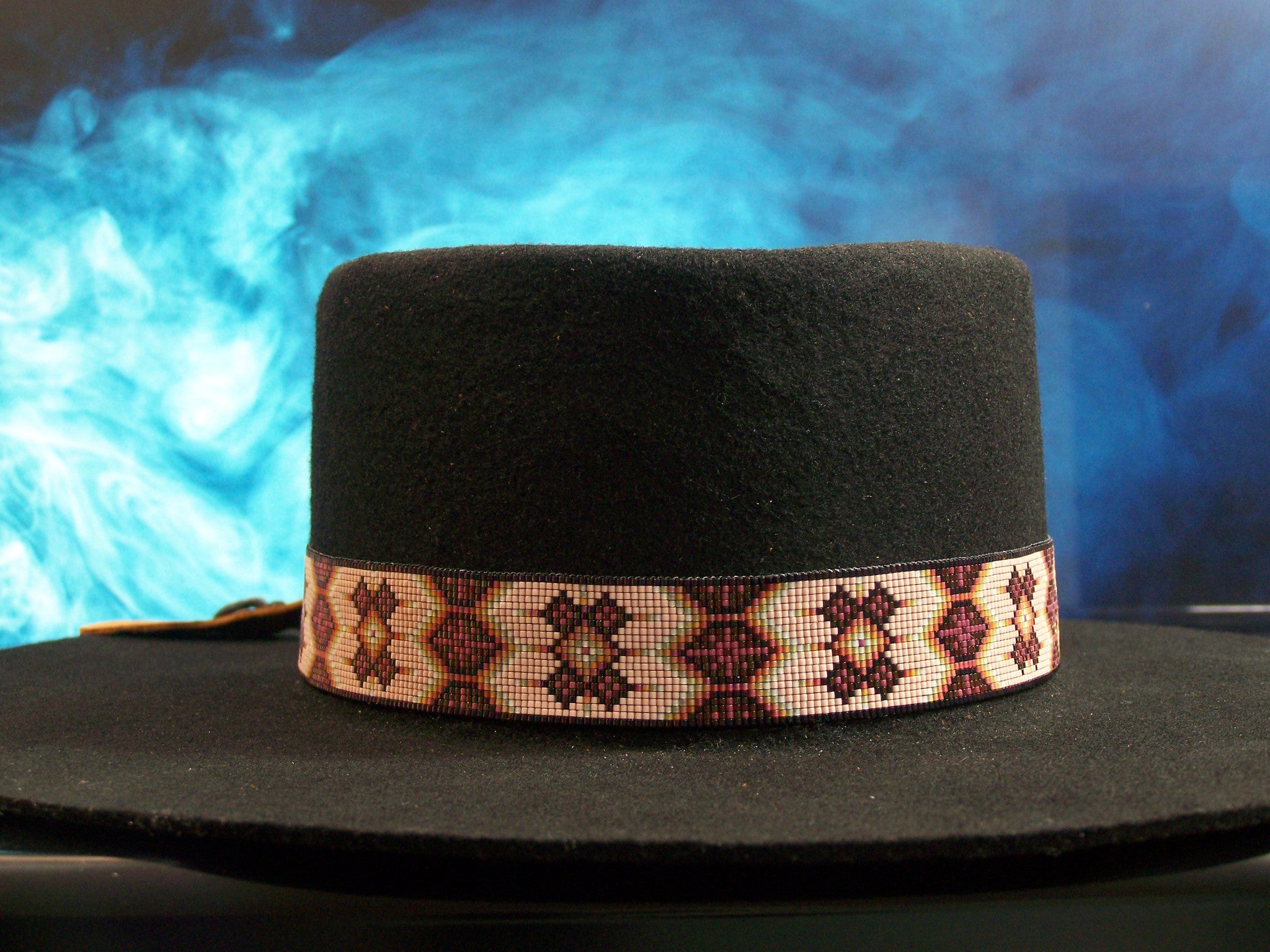 Native American Beaded Soft Pink  Morning Star Hat Band 1
