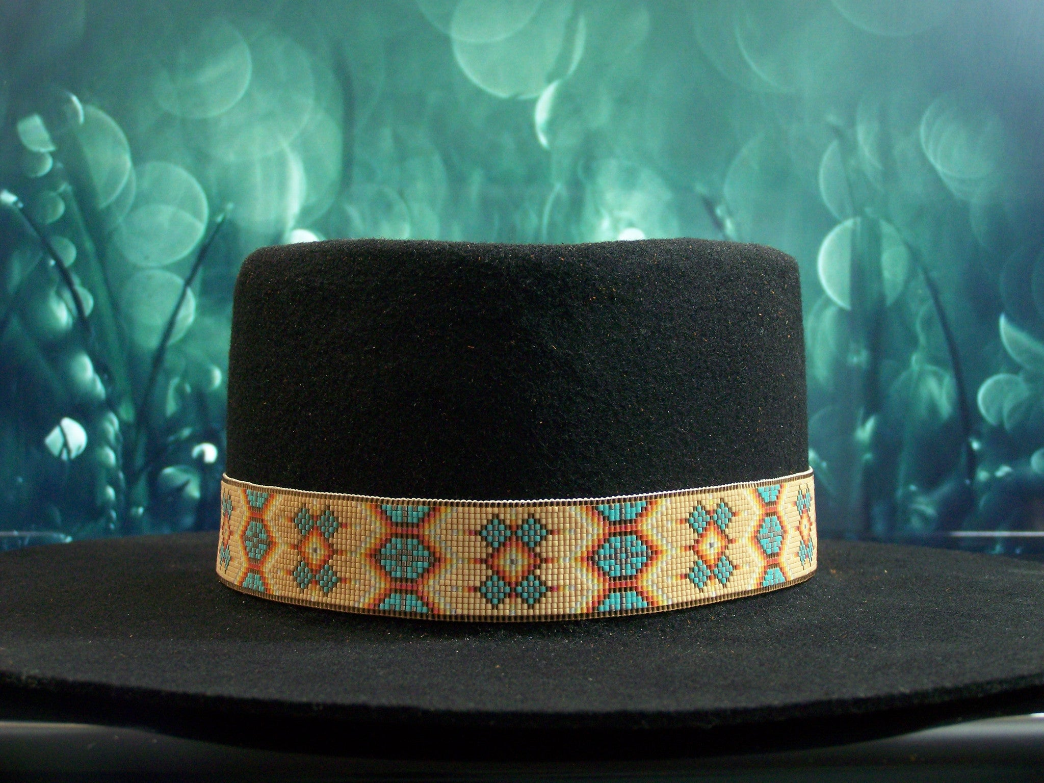 Native American Beaded Tan Morning Star Hat Band 1