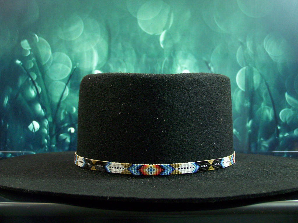 Native American Beaded Sage Diamond Feather Hat Band