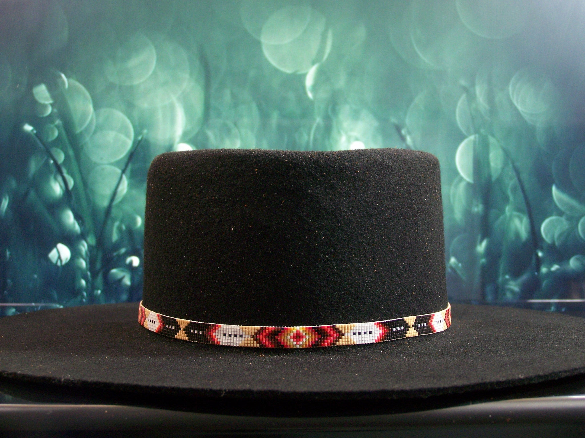 Native American Beaded Diamond and Feather Hat Band 1