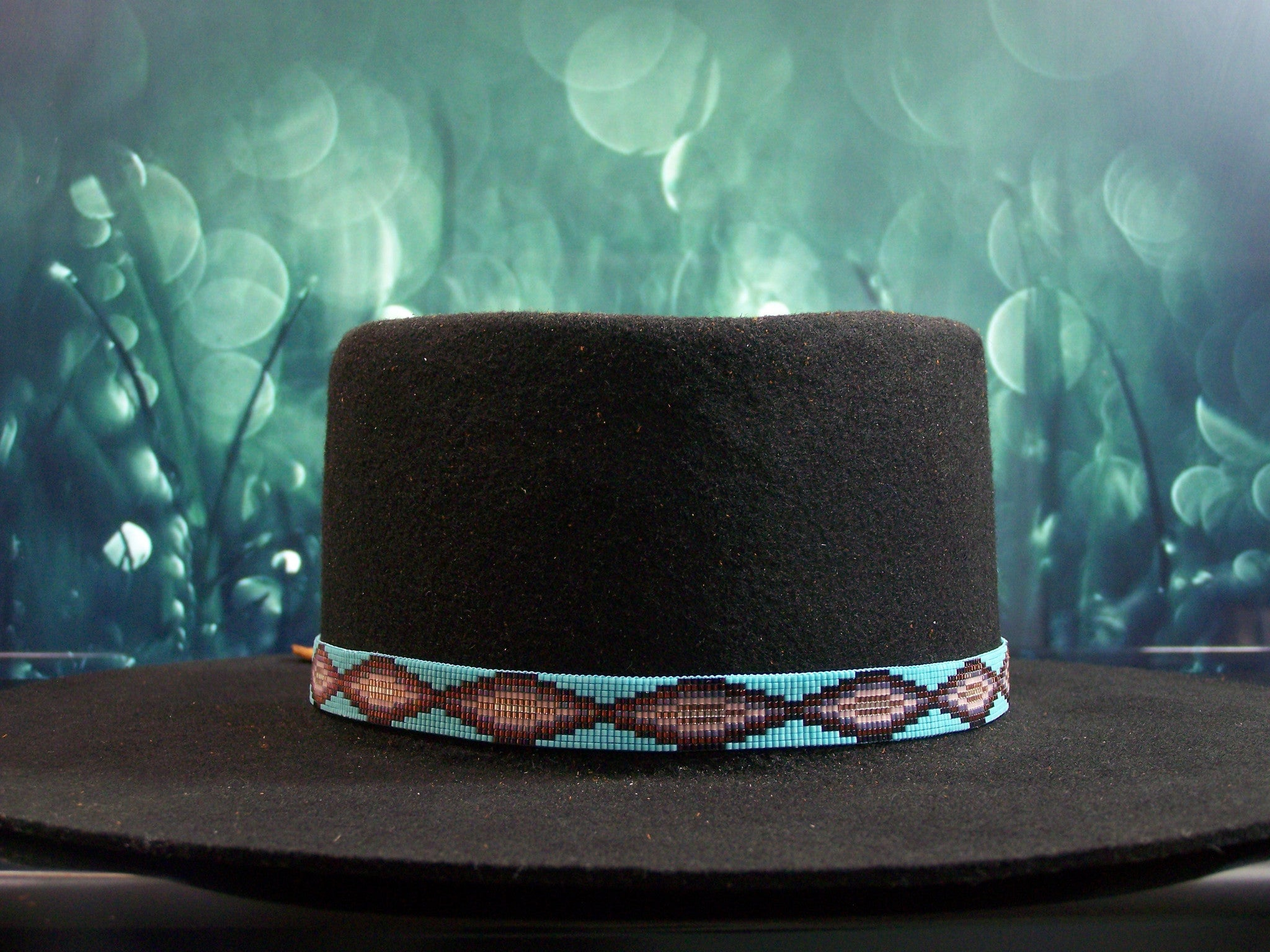 Native American Beaded Turquoise Navajo Rug Hat Band 1