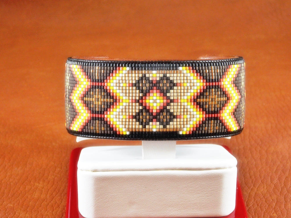 Golden Star Native American Beaded Bracelet